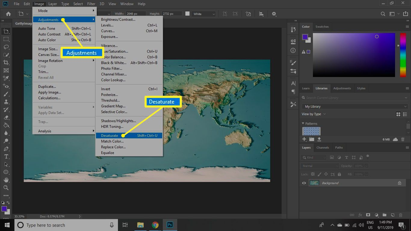 Photoshop Image menu with Adjustments and Desaturate highlighted