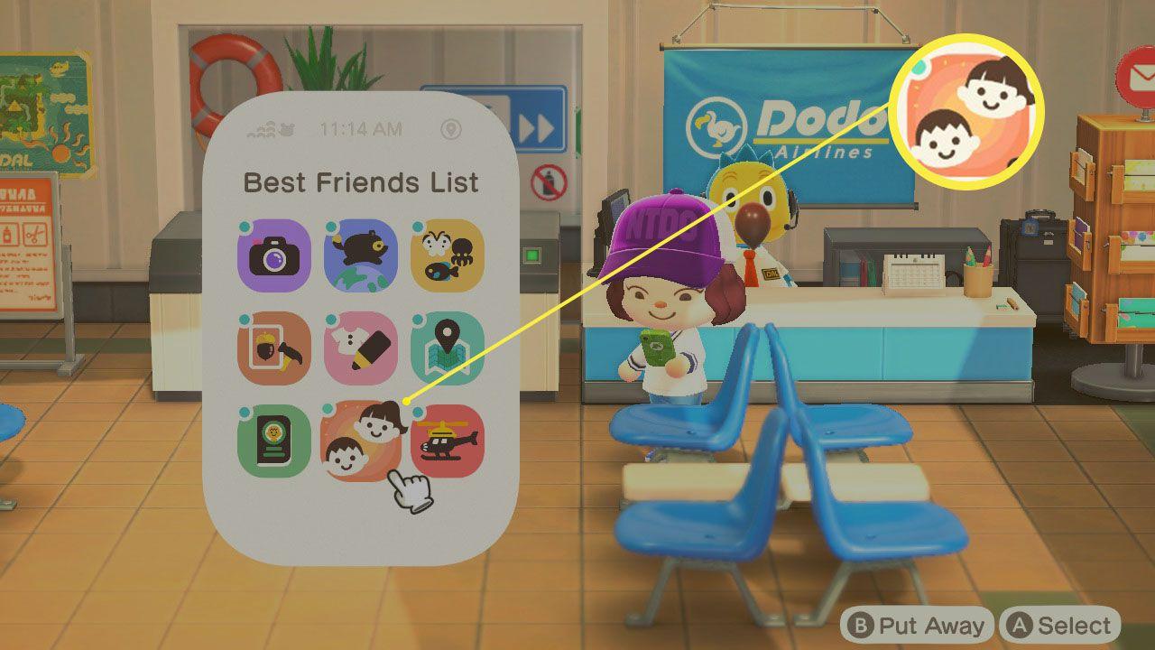 Best Friends list app on Nook phone in Animal Crossing; New Horizons