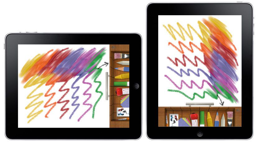 iPad showing drawing tools and colored squiggles