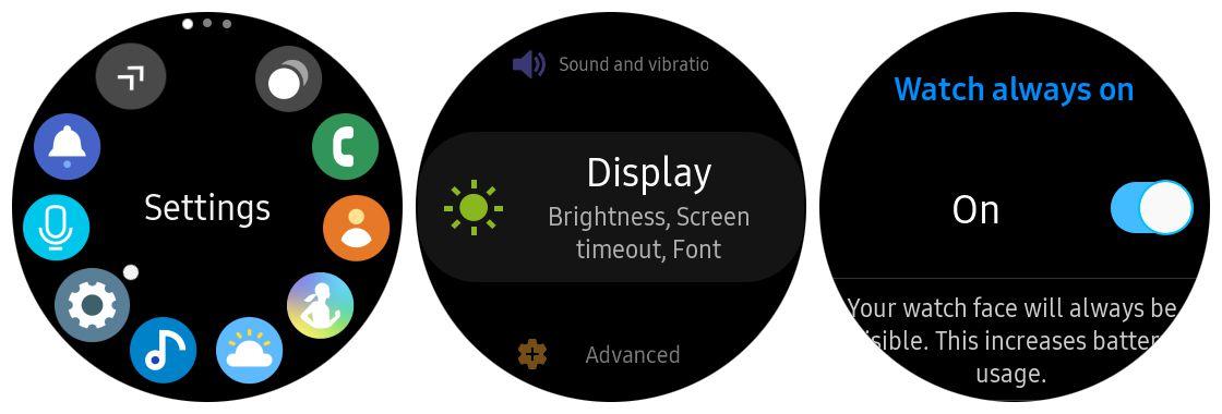 Samsung Gear S3 always on feature