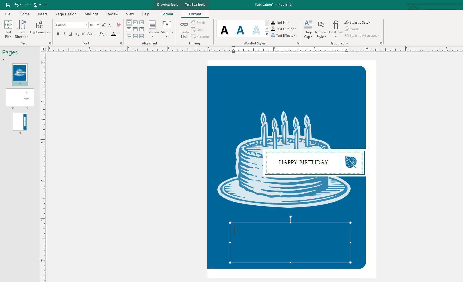 Format menu in Publisher