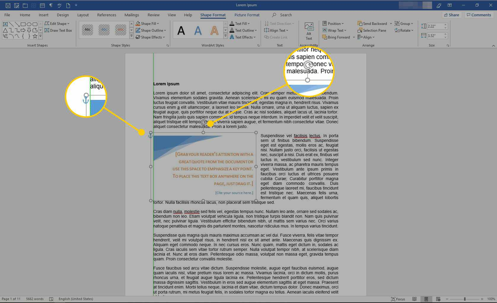 Resizing handles on a text box in Word