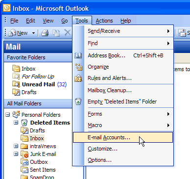 Selecting Email Accounts in Outlook 2003