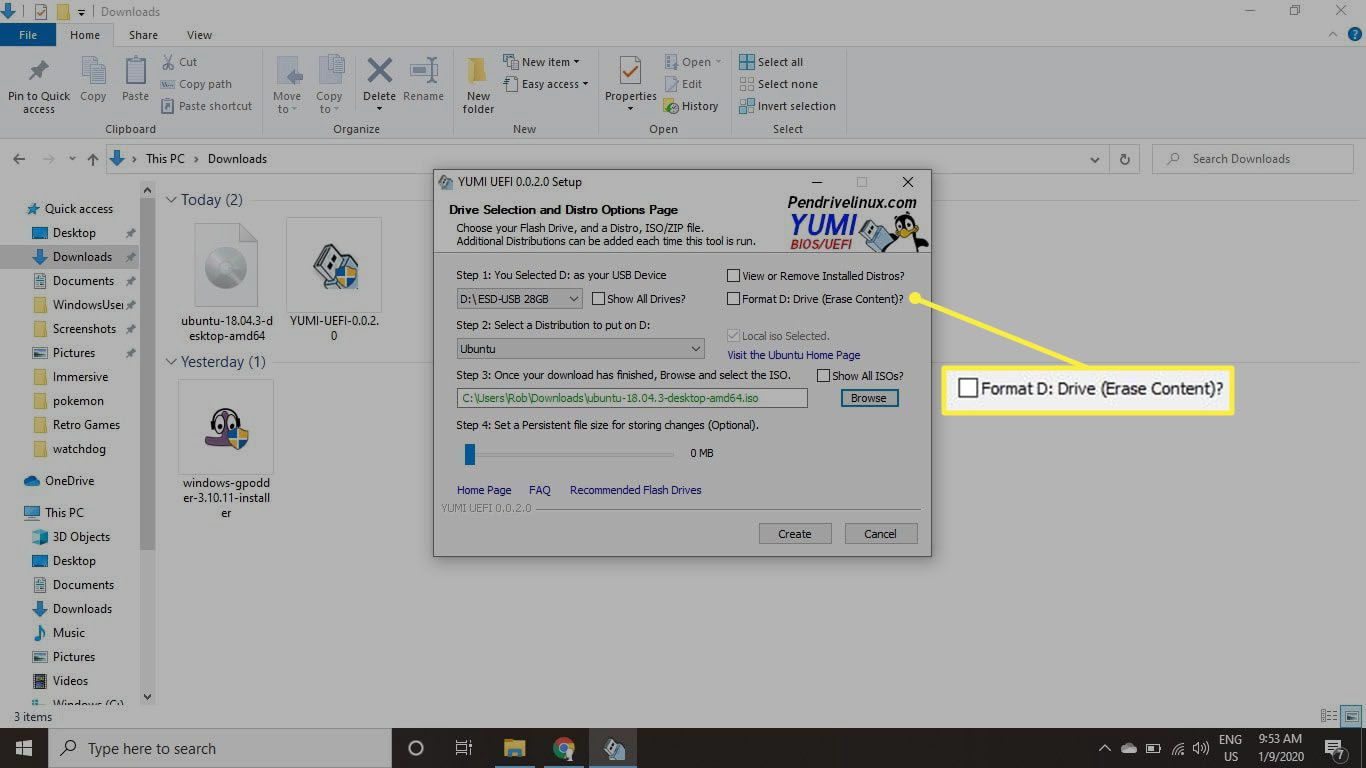 Select the Format Drive (Erase Content) box.