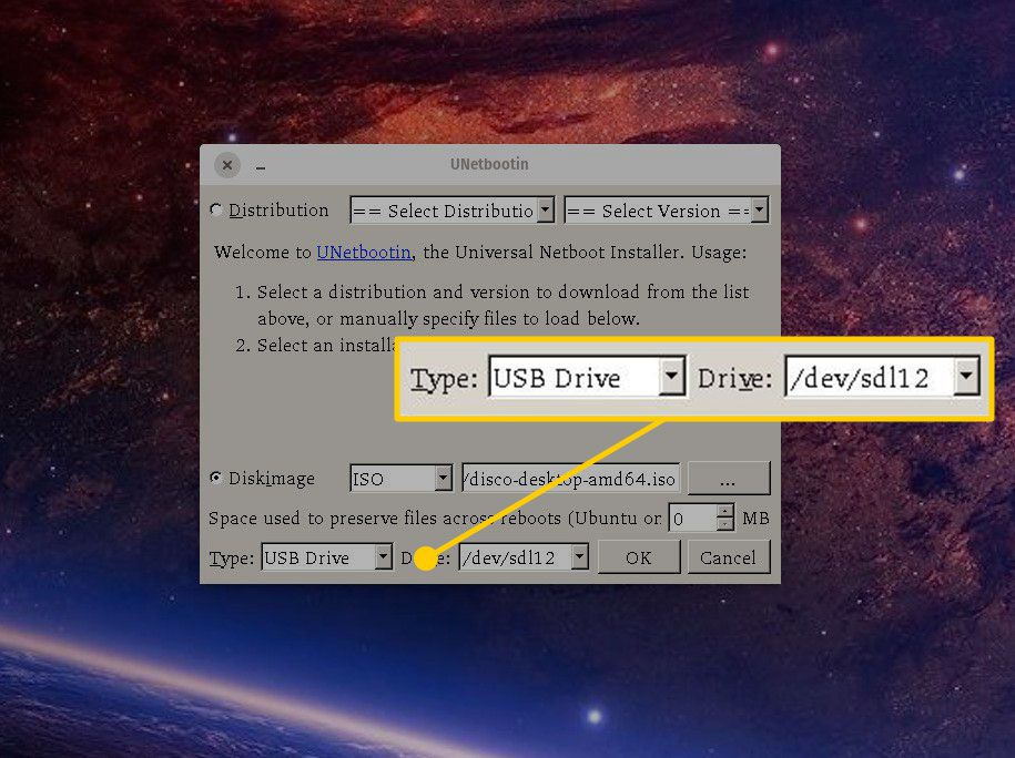 Type and Drive options in UNetbootin