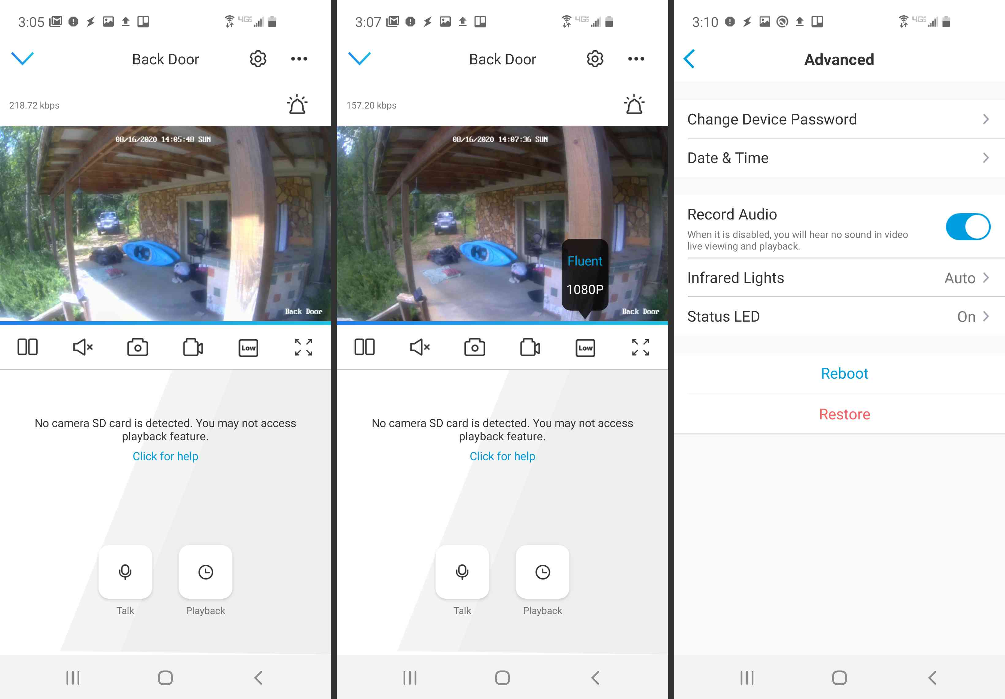 Screenshot of security camera app settings.