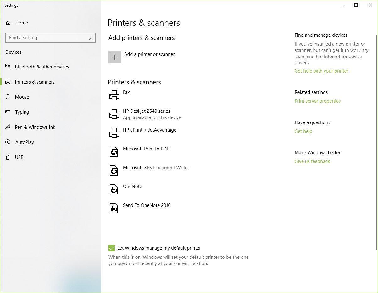 Screenshot of Printers & Scanners Windows 10