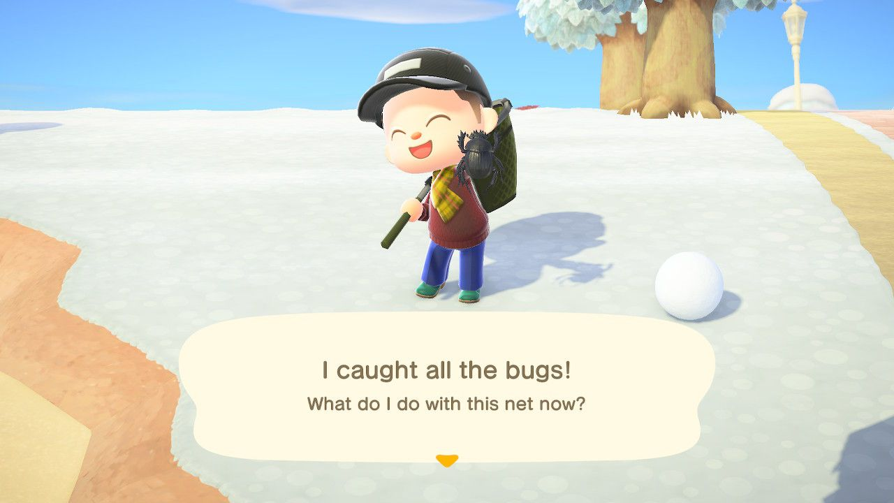 An Animal Crossing character after catching their final bug