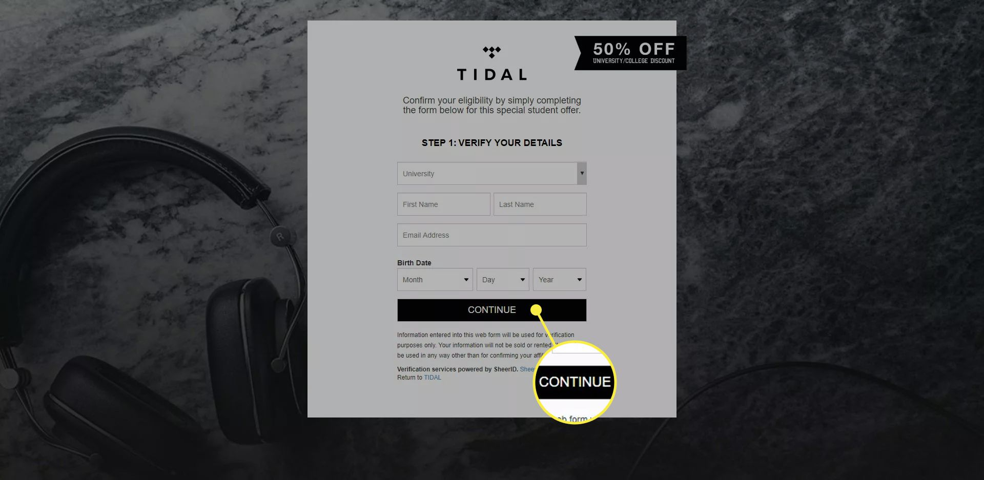 The Tidal student discount form