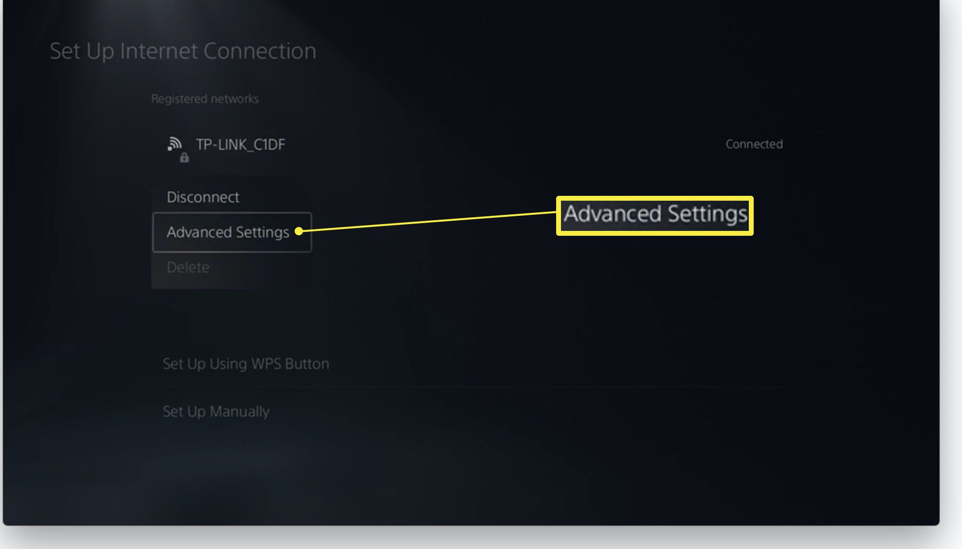 PlayStation 5 with Set Up Internet Connection Advanced Settings highlighted