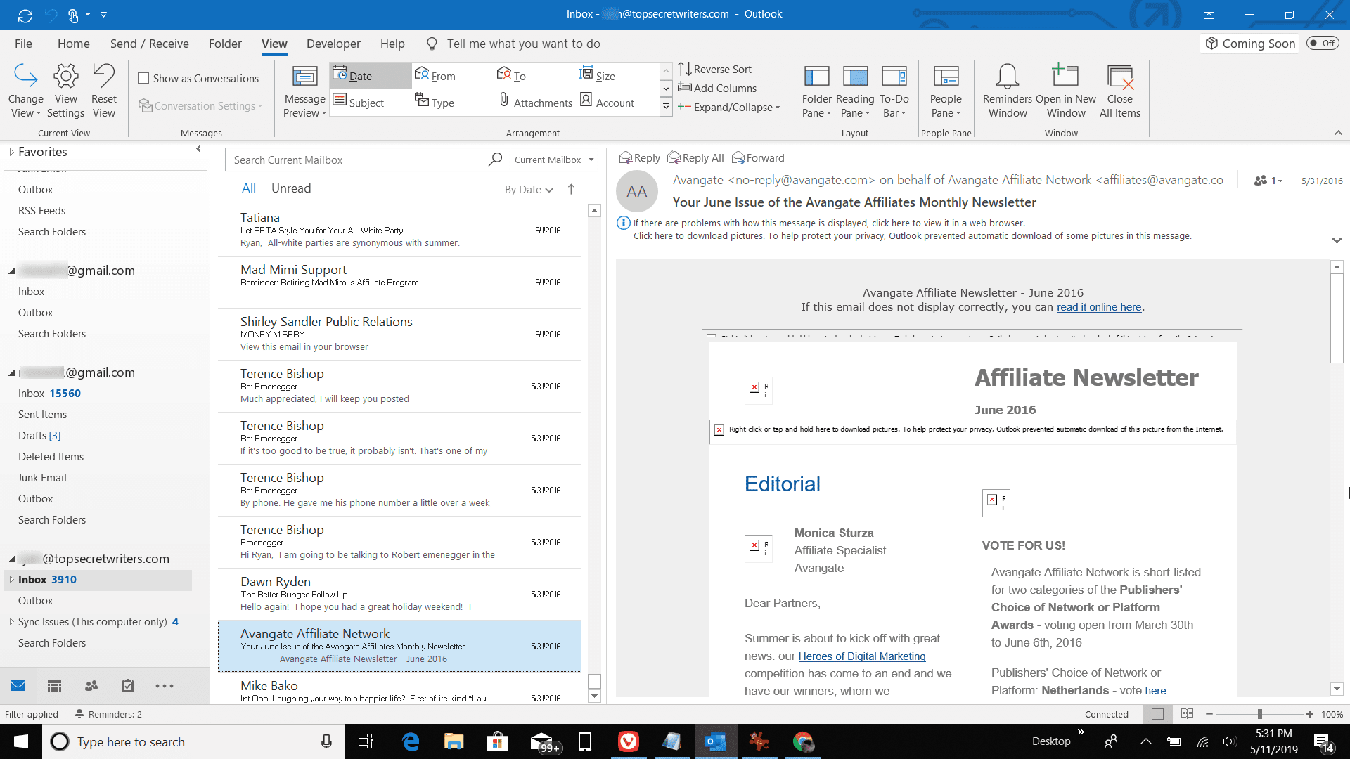 Screenshot of email listing with new font in Outlook