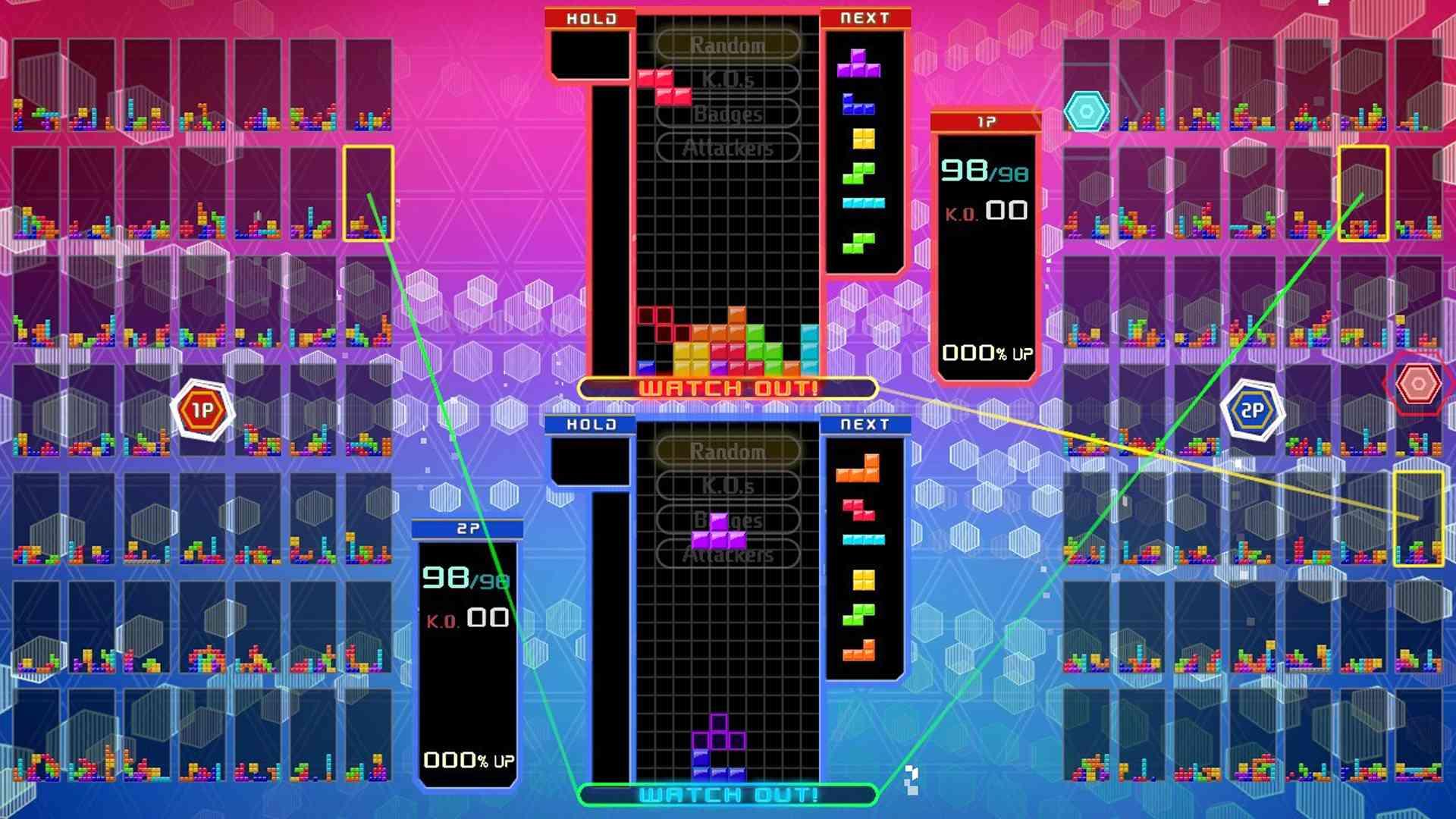 Tetris 99 2P Share Battle Mode.