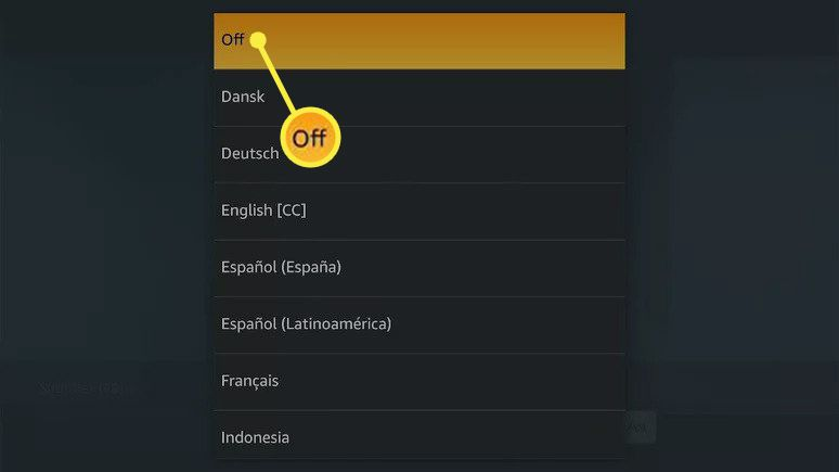 Off highlighted in Amazon Prime Video app subtitle settings