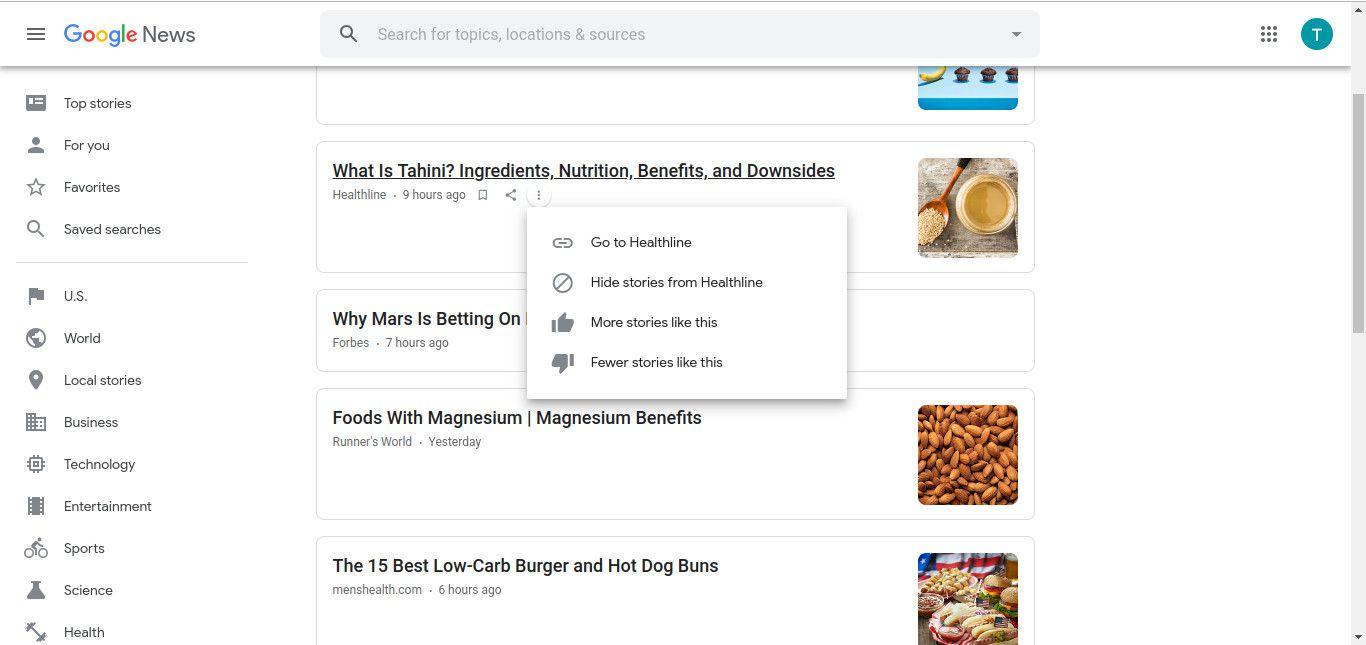 Google News more options