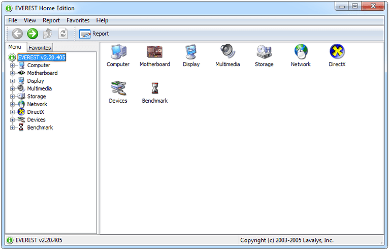 Screenshot of EVEREST Home Edition v2.20 in Windows 7