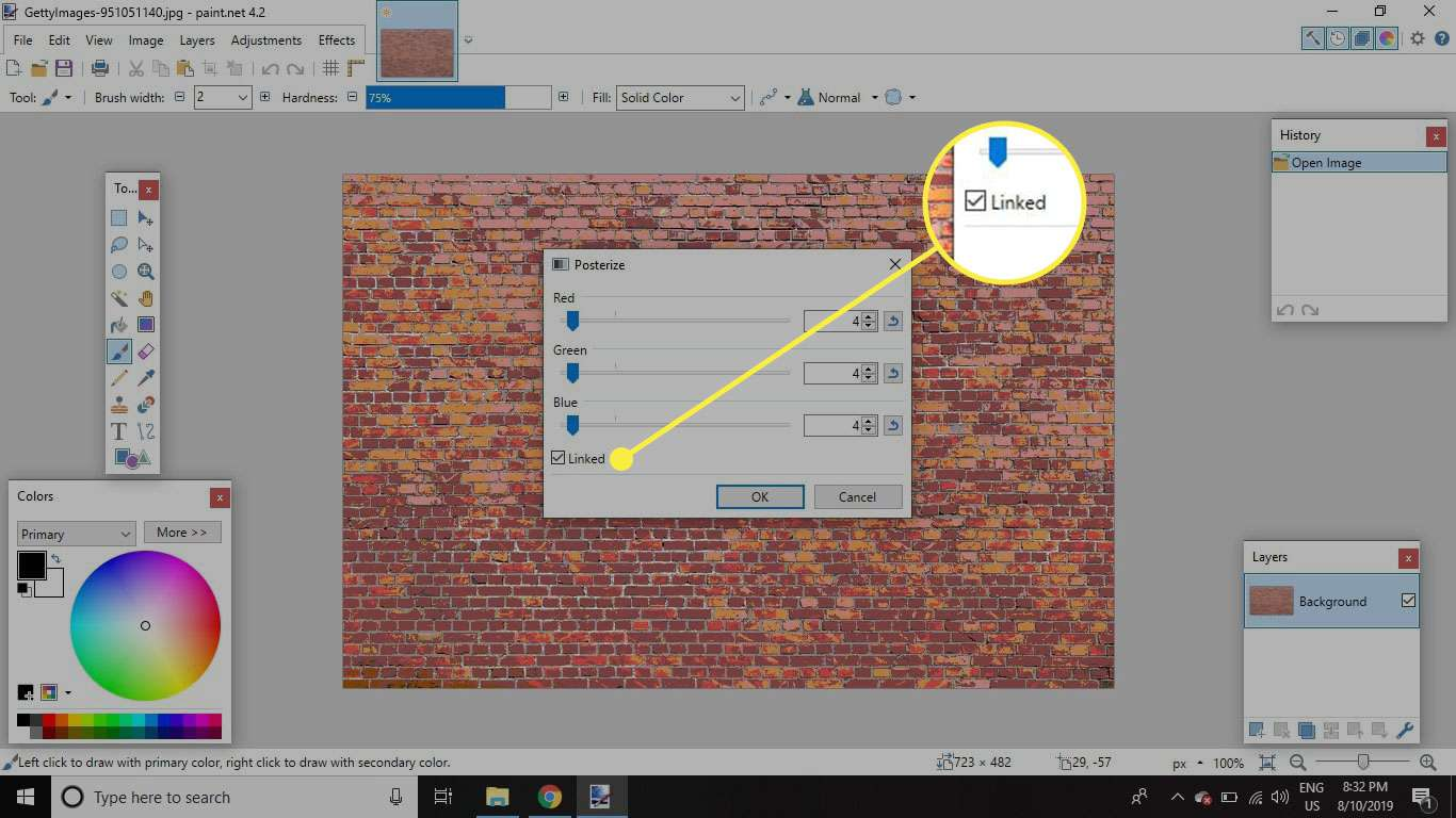A screenshot of Paint.NET's Posterize window with the Linked option highlighted