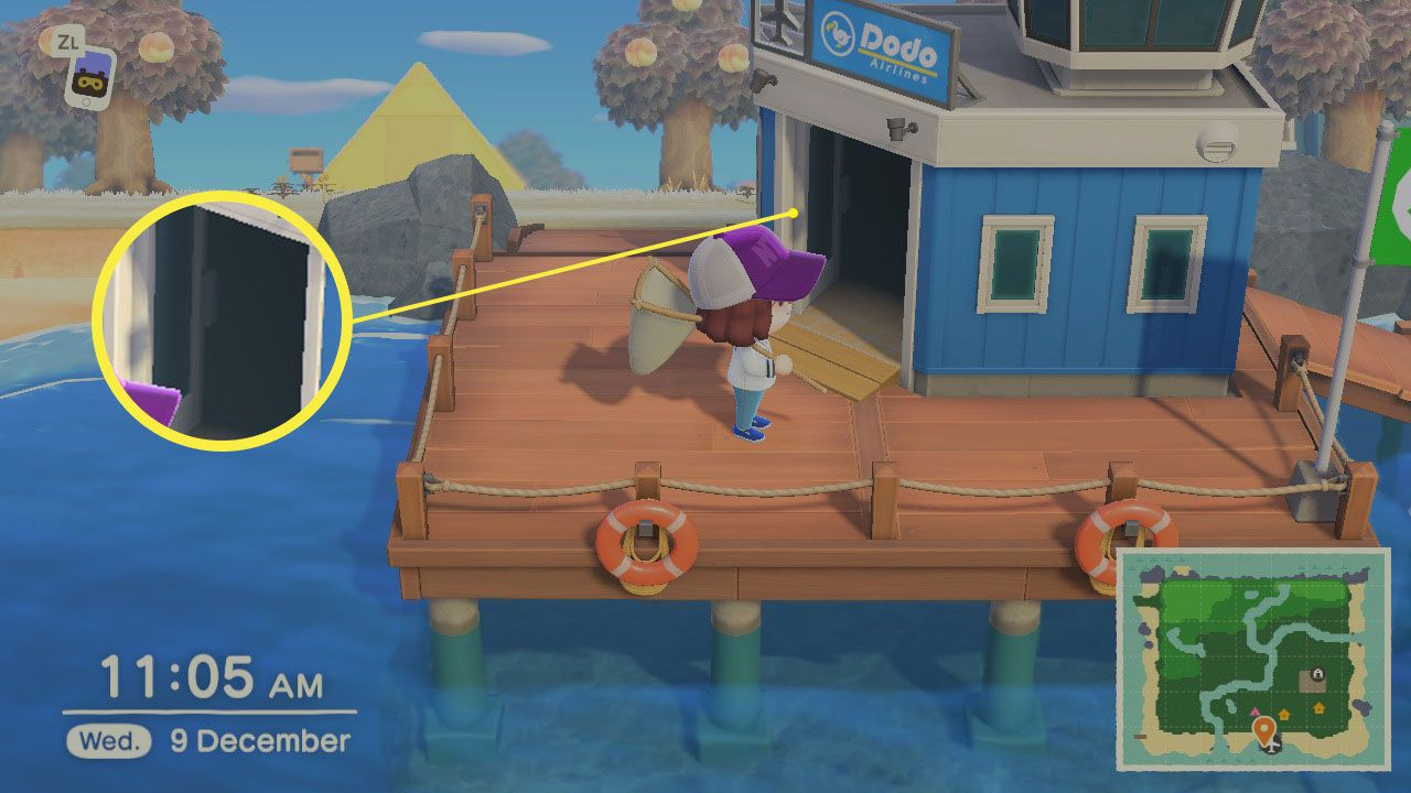 The location of Dodo's Flying Services in Animal Crossing