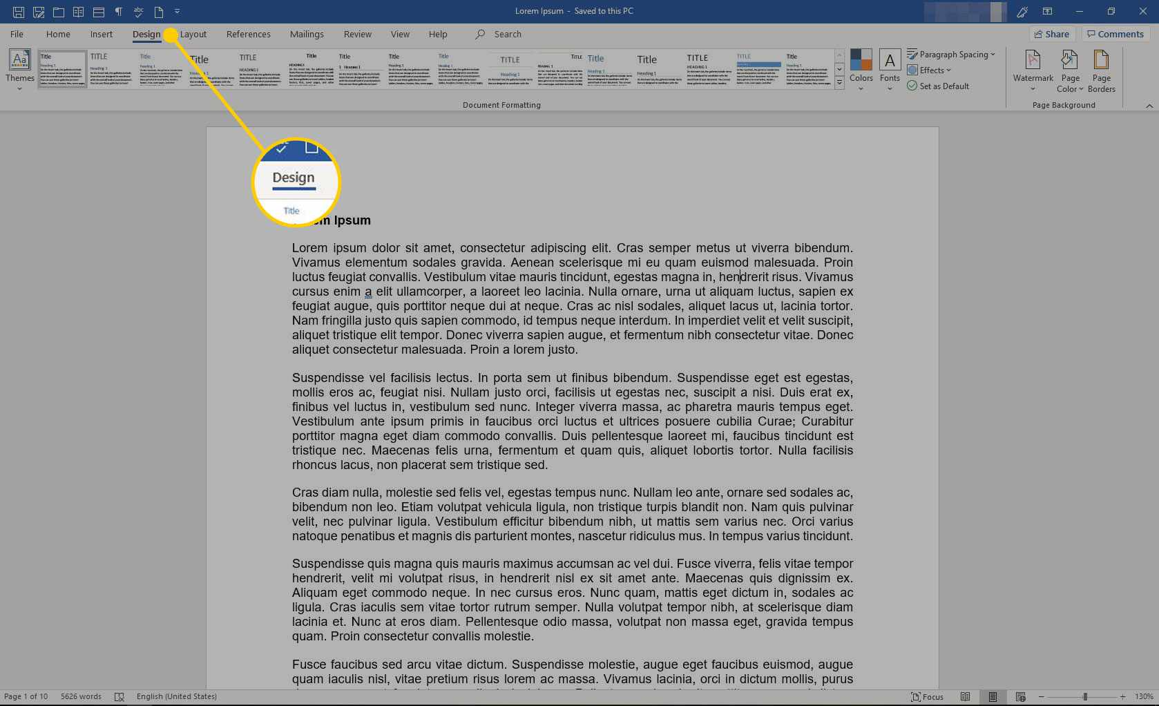 A Word document with the Design tab highlighted
