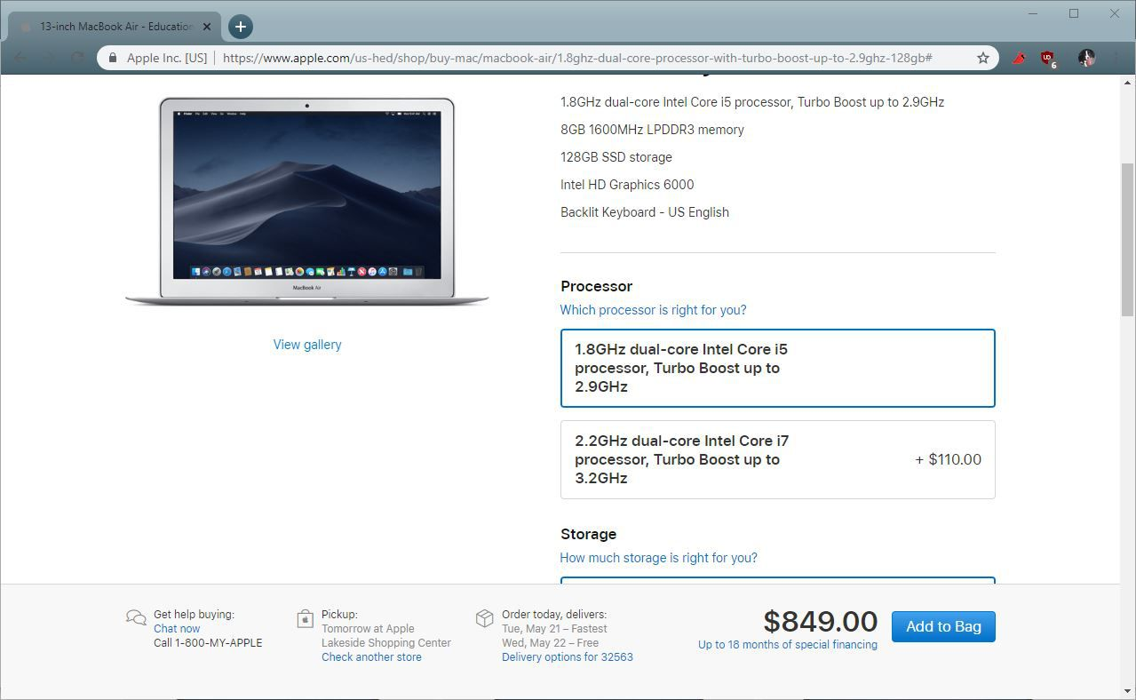 A screenshot of customizing a macbook air in the Apple Education Store.