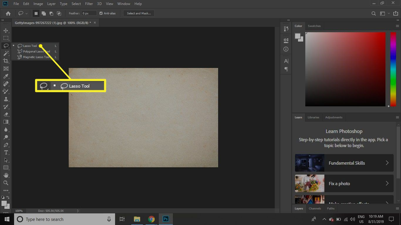 The Lasso tool selected in the Photoshop toolbar