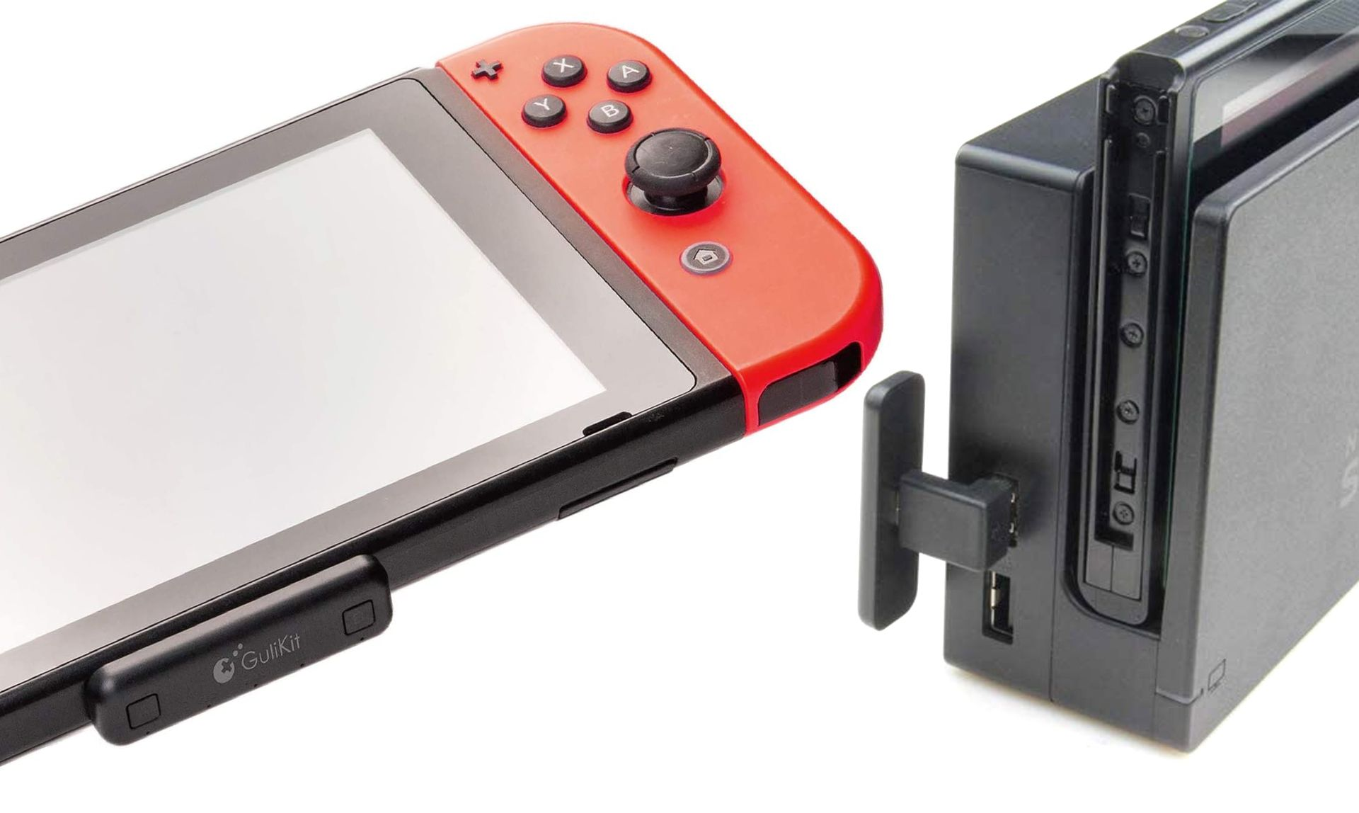 GuliKit Bluetooth Adapter connected to a Nintendo Switch and Dock.