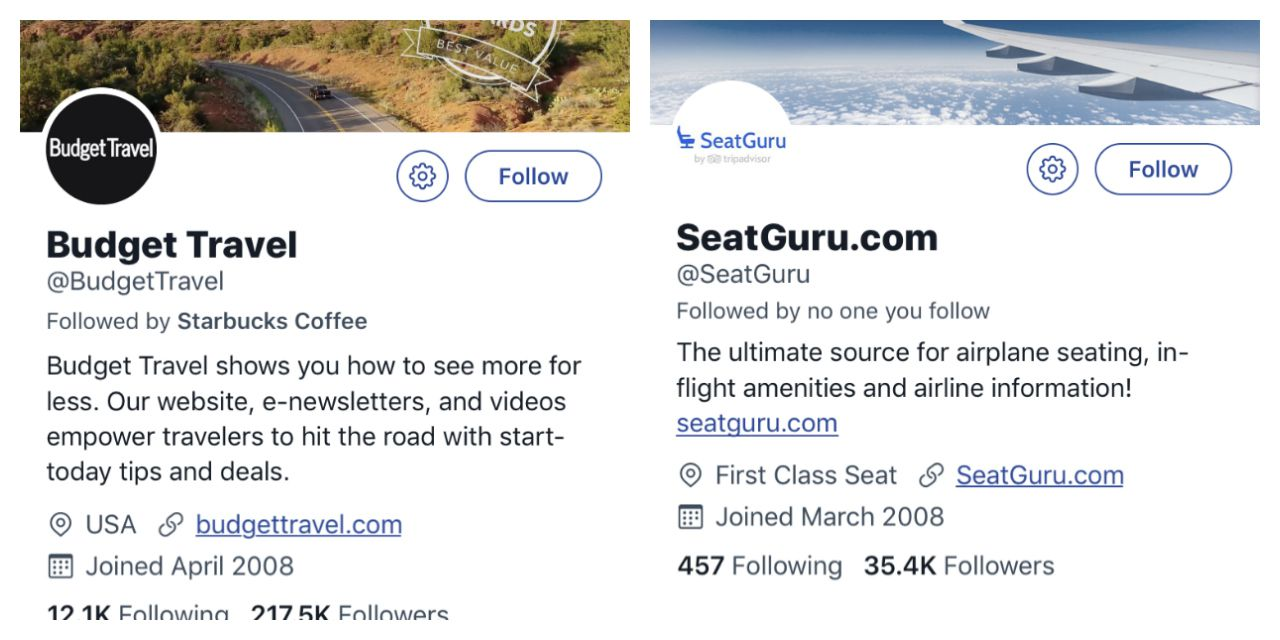Two of our 60 favorite Travel Twitter fiollows.
