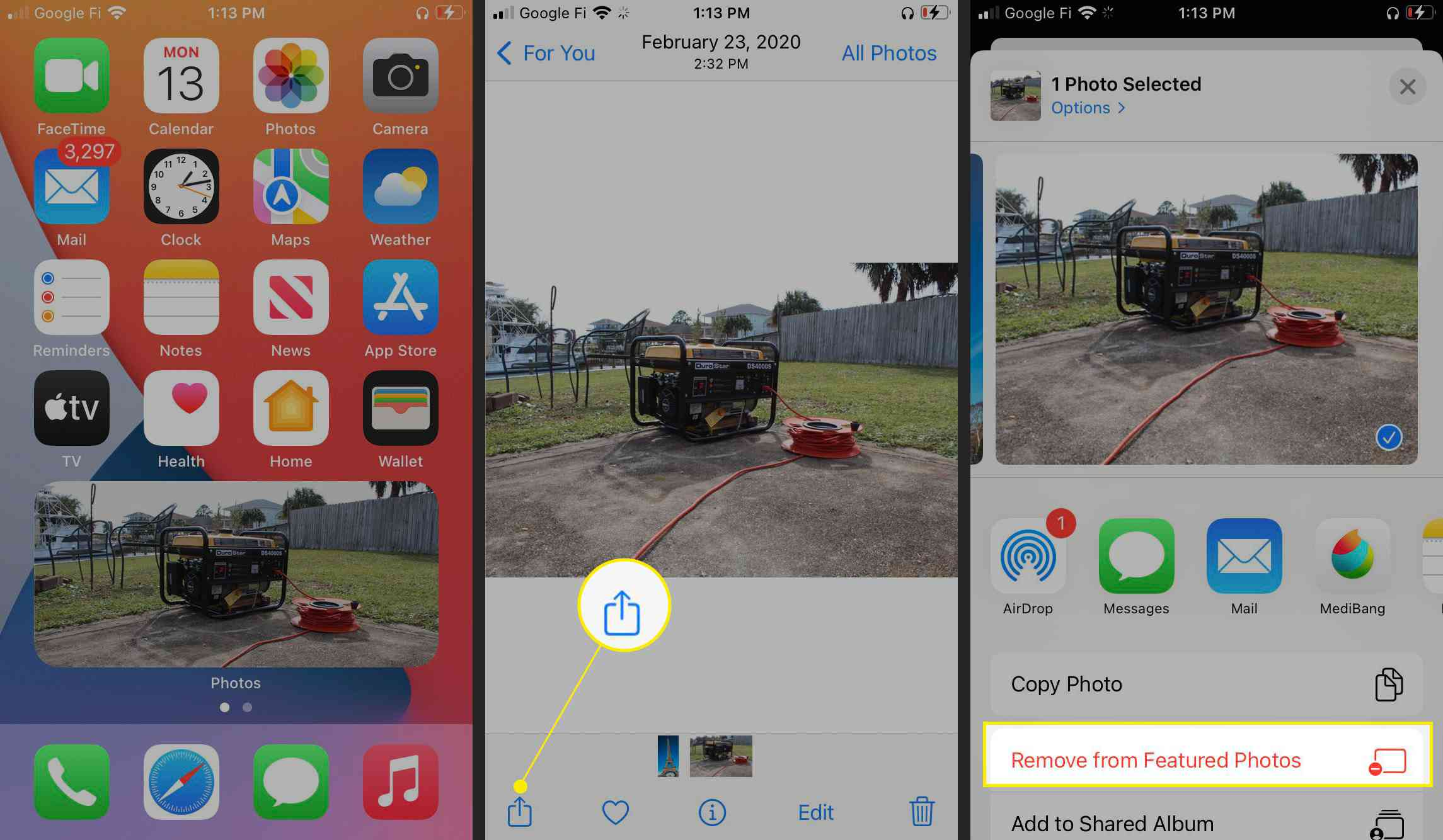 Share icon and Remove from Featured Photos highlighted in iPhone share settings.