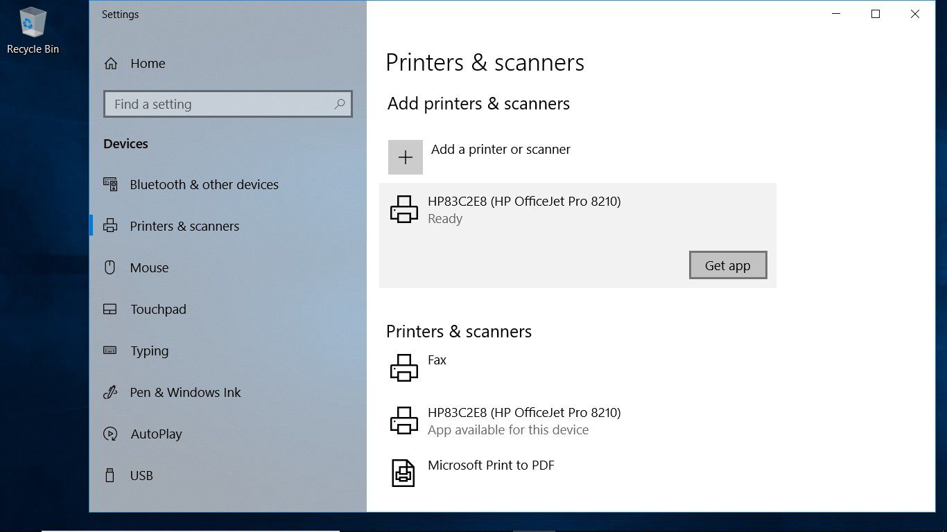 A screenshot showing a wireless printer that has been added to a Windows 10 laptop