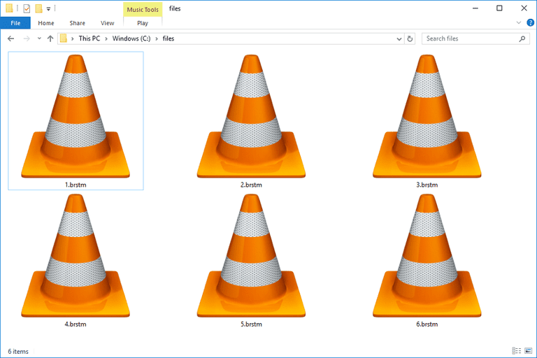 Screenshot of several BRSTM files in Windows 10 that open with VLC media player