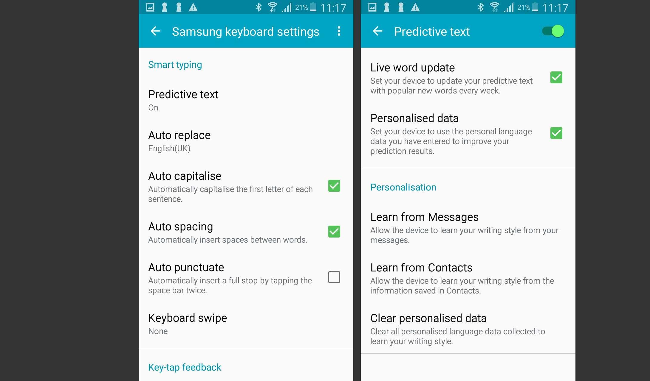Samsung Keyboard Settings and Predictive Text Settings