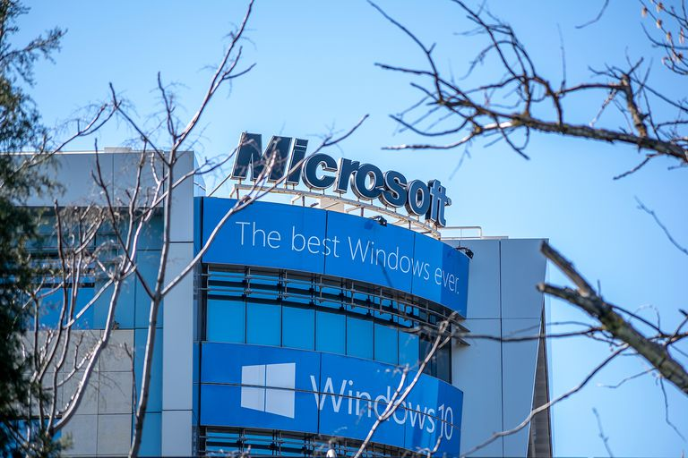 Microsoft building at Athens-Greece with nice blue sky as background.