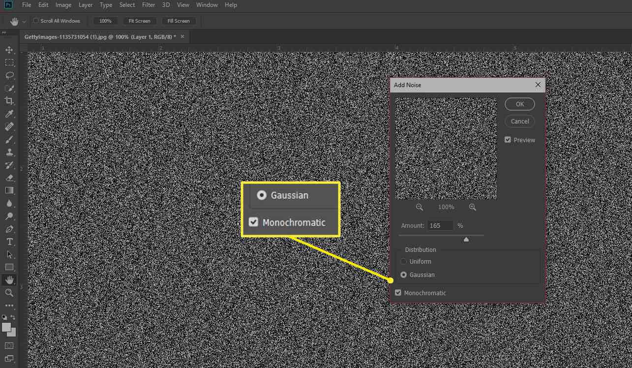 Play with the Add Noise slider box