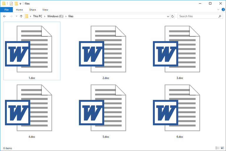 DOC files used with Microsoft Word in Windows 10