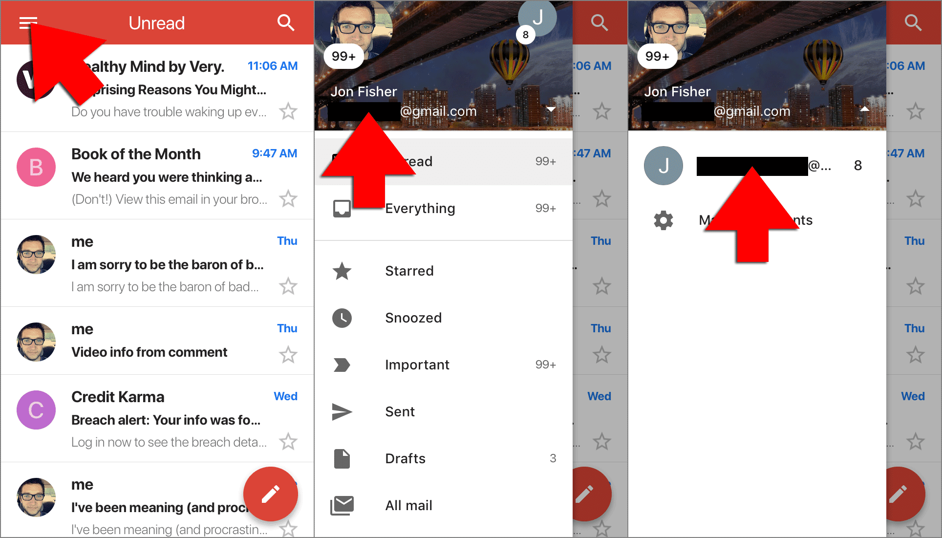 switch gmail accounts on iphone