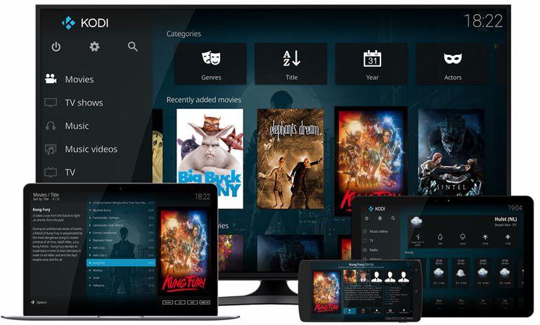 Television, laptop, tablet, and mobile phone displaying Kodi