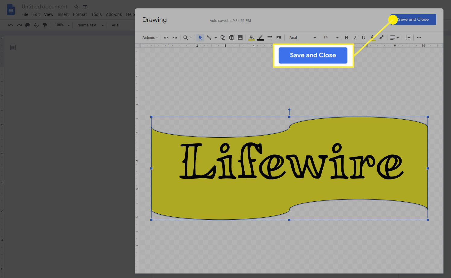 The Save and close option for drawings in Google Docs.