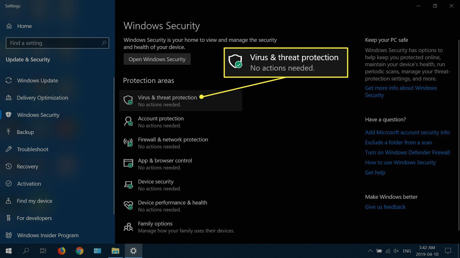Select Virus & threat protection in the Windows Security options for Windows 10.