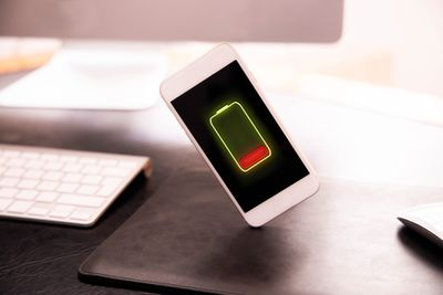 A smartphone with a dying battery