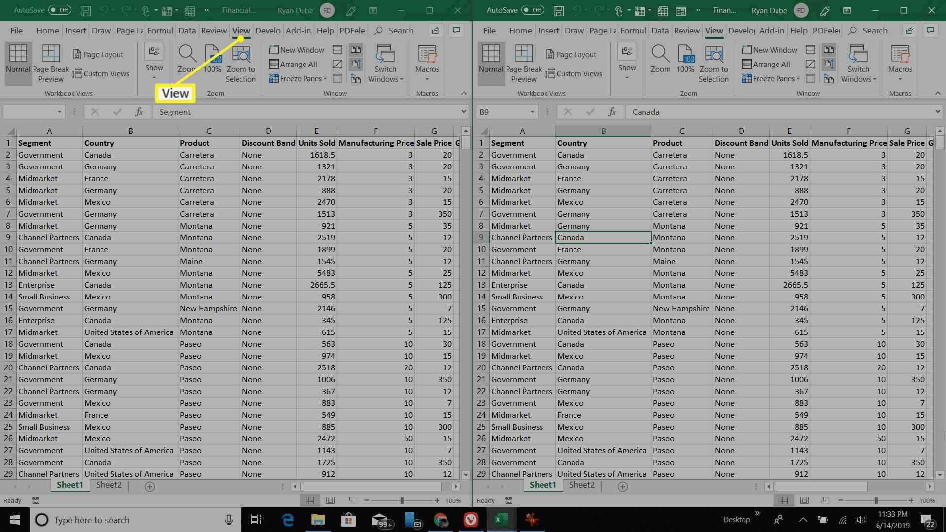 Excel workbooks side by side