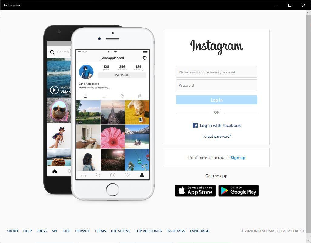 Windows 10 Instagram app login screen