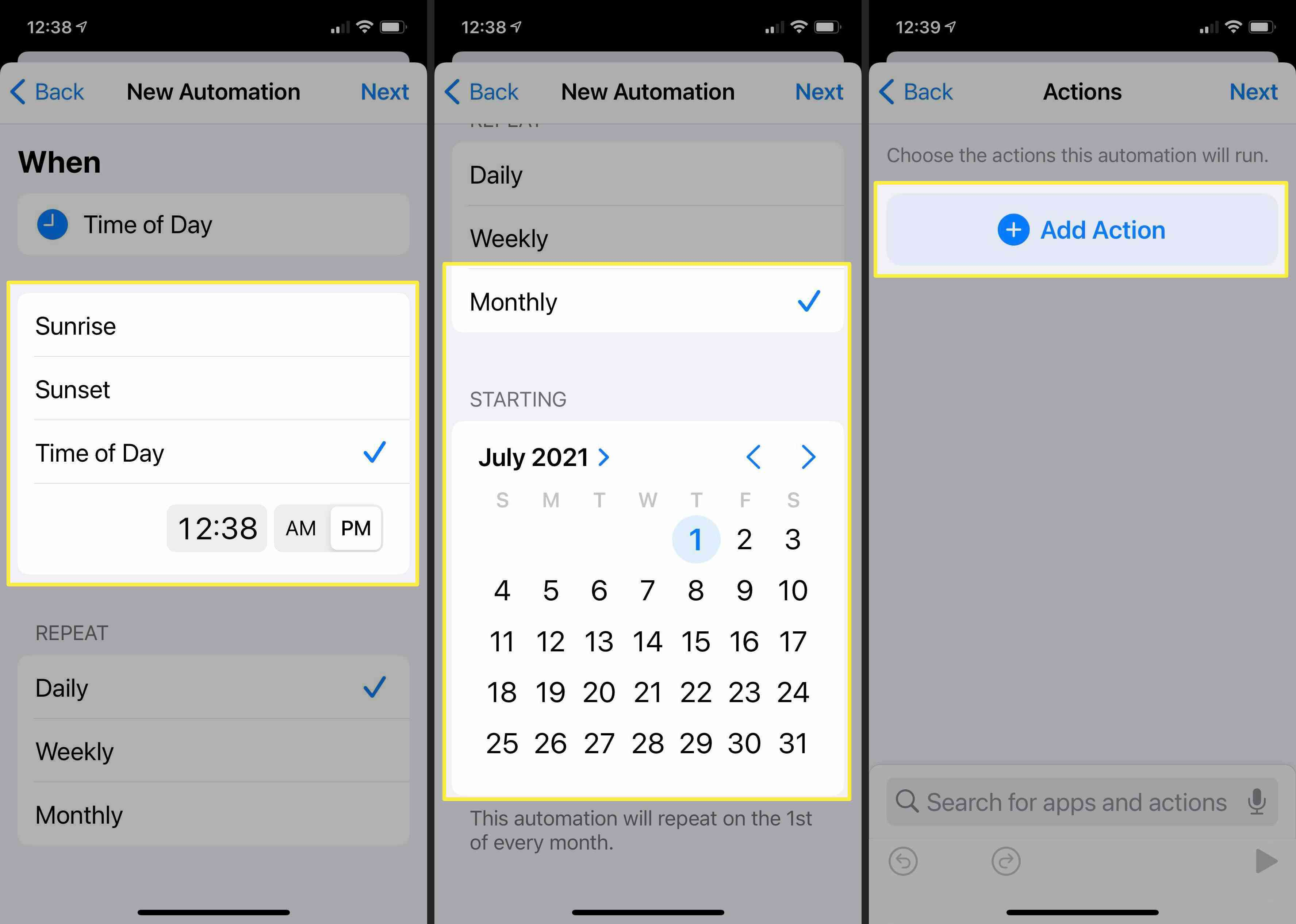 Screenshots of the process to build an automation shortcut to schedule an iMesage.