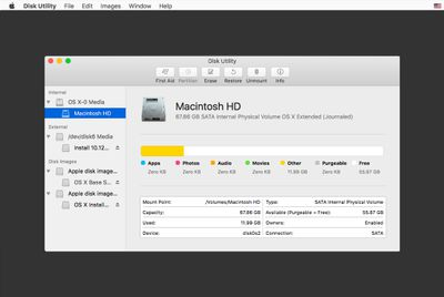 Disk Utility being used to erase a drive for macOS Sierra install