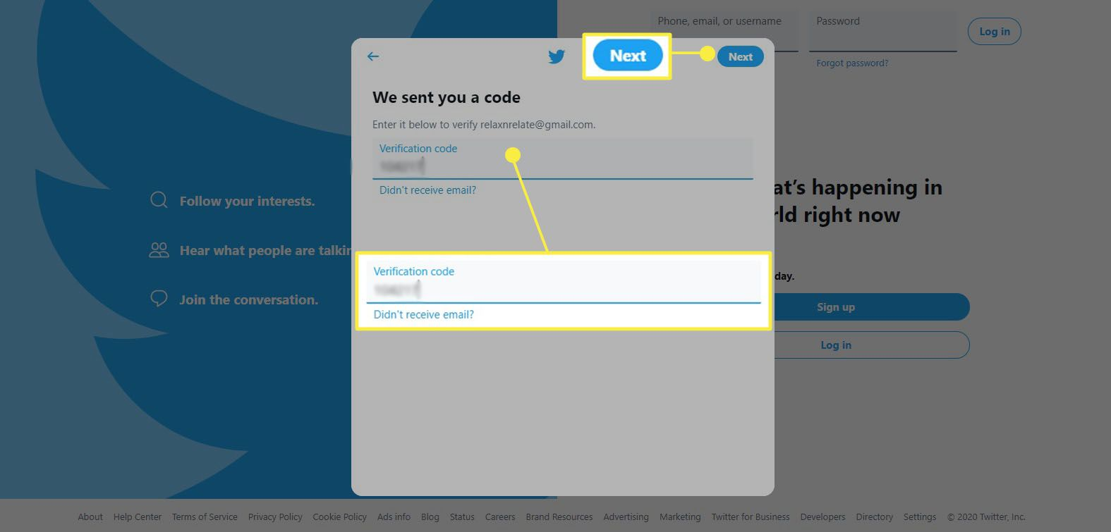 Twitter sign up - enter verification code from text or email