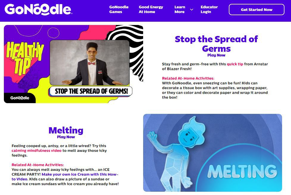GoNoodle home page