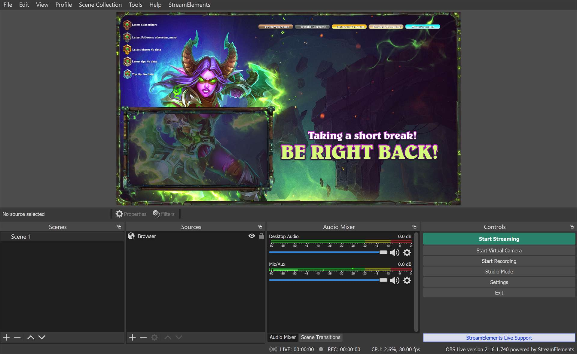 OBS Studio streaming app on a Surface running Windows 10.