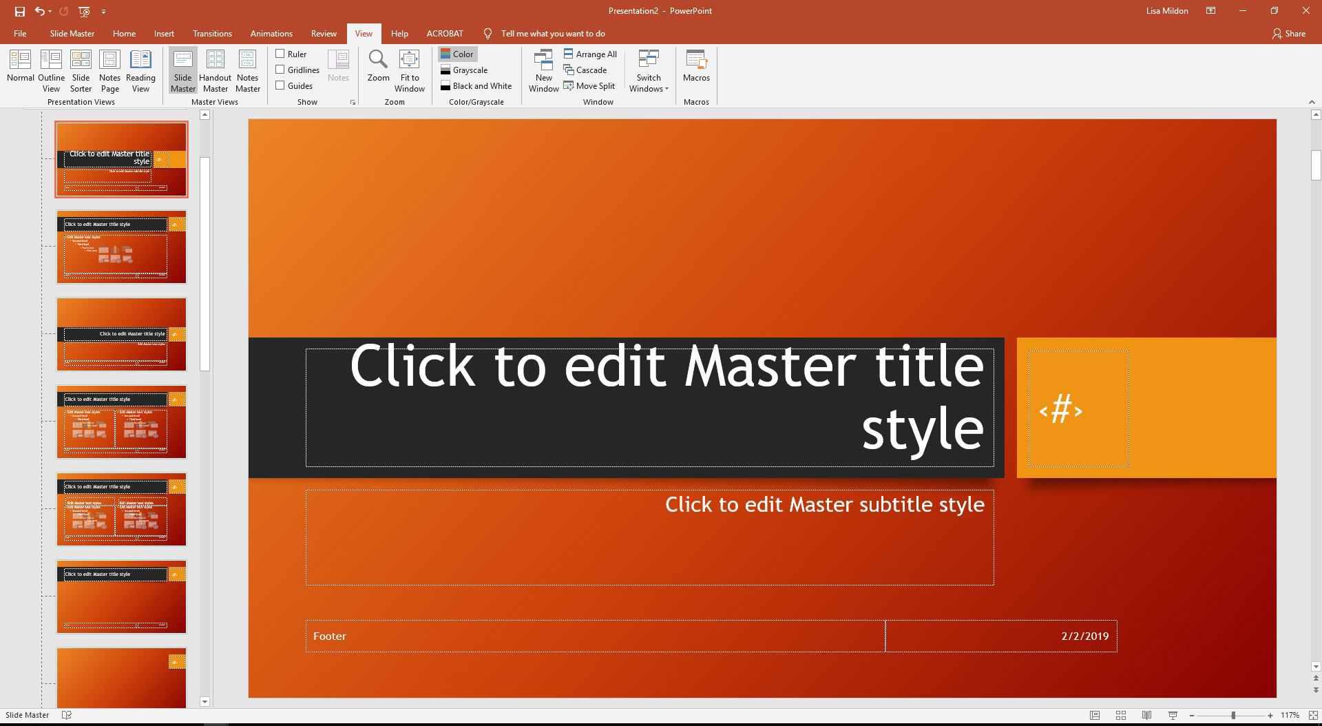 PowerPoint slideshow displaying Slide Master.