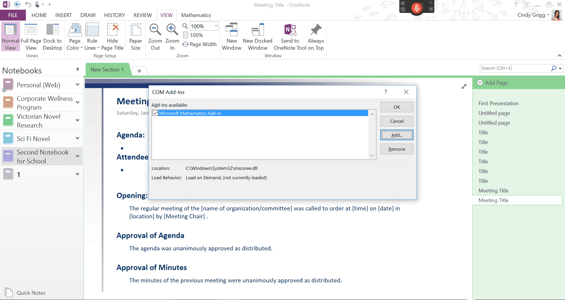 Adding or getting rid of add-ins in Microsoft OneNote