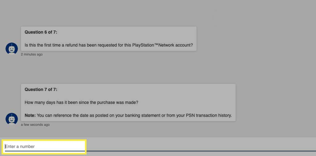 Selecting number of days since purchase from PlayStation support bot.