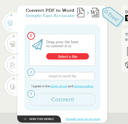 Screenshot of the Convertii website