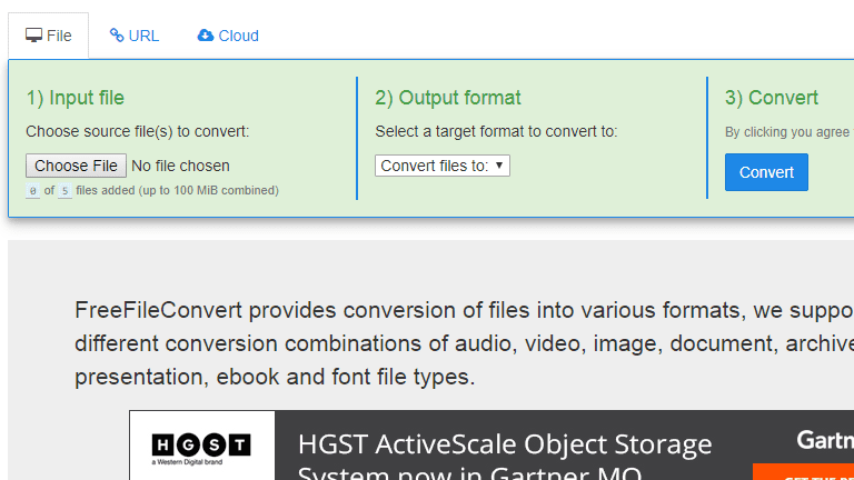 Screenshot of the FreeFileConvert website